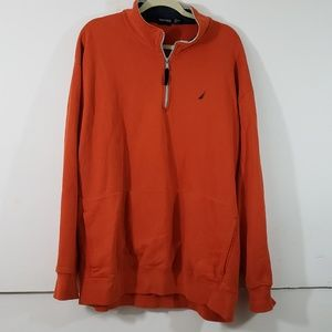 XXL Nautica Orange Pull Over 1/4 Zip Up Sweater